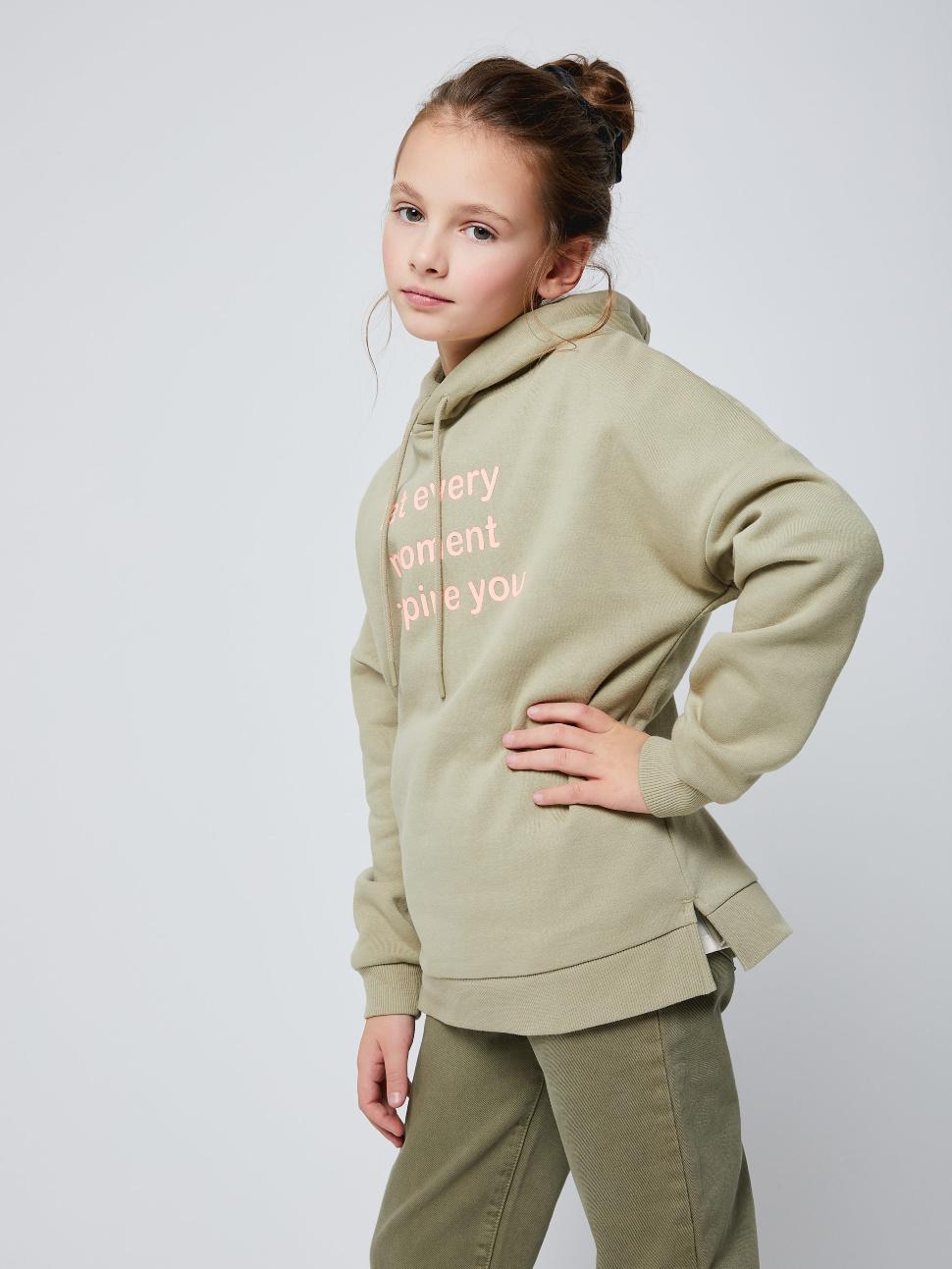 Худи оверсайз для девочек цвет: светло-зеленый, артикул: 1801050407 - купить в интернет-магазине sela