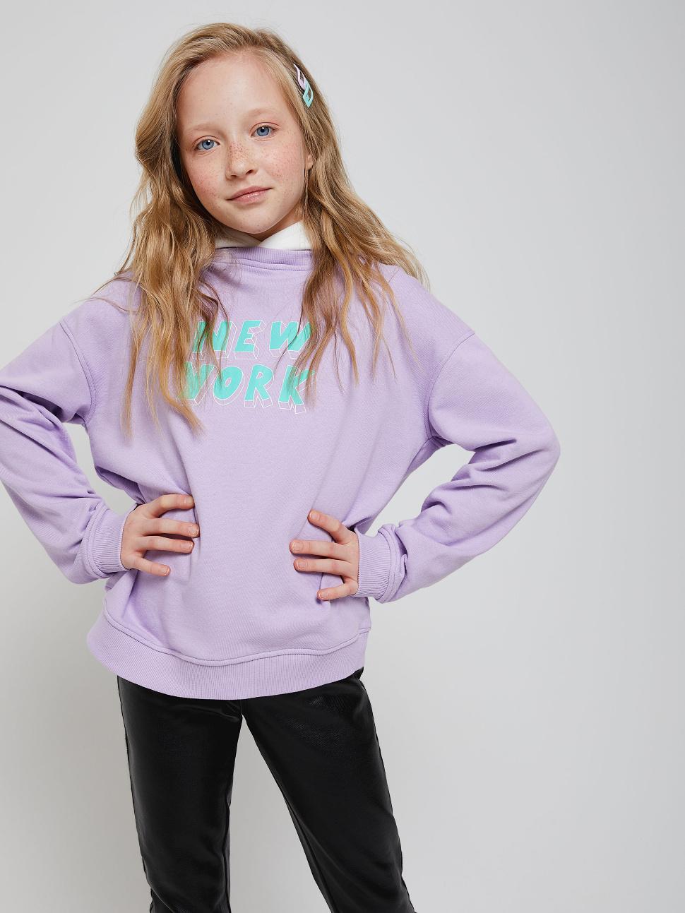 Худи с принтом для девочек цвет: сиреневый, артикул: 1802050429 - купить в интернет-магазине sela