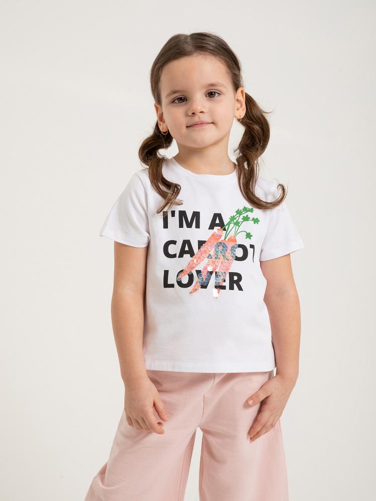 Футболка с вышивкой из пайеток для девочек цвет: белый принт графика, артикул: 0803040225 - купить в интернет-магазине SELA