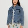 Джинсовая куртка с вышивкой для девочек, цвет светлый индиго