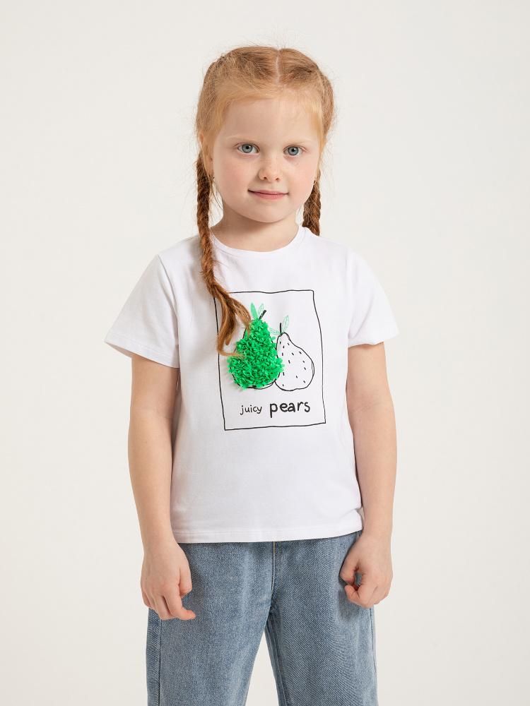 Футболка с вышивкой из пайеток для девочек цвет: белый, артикул: 0803040225 - купить в интернет-магазине SELA