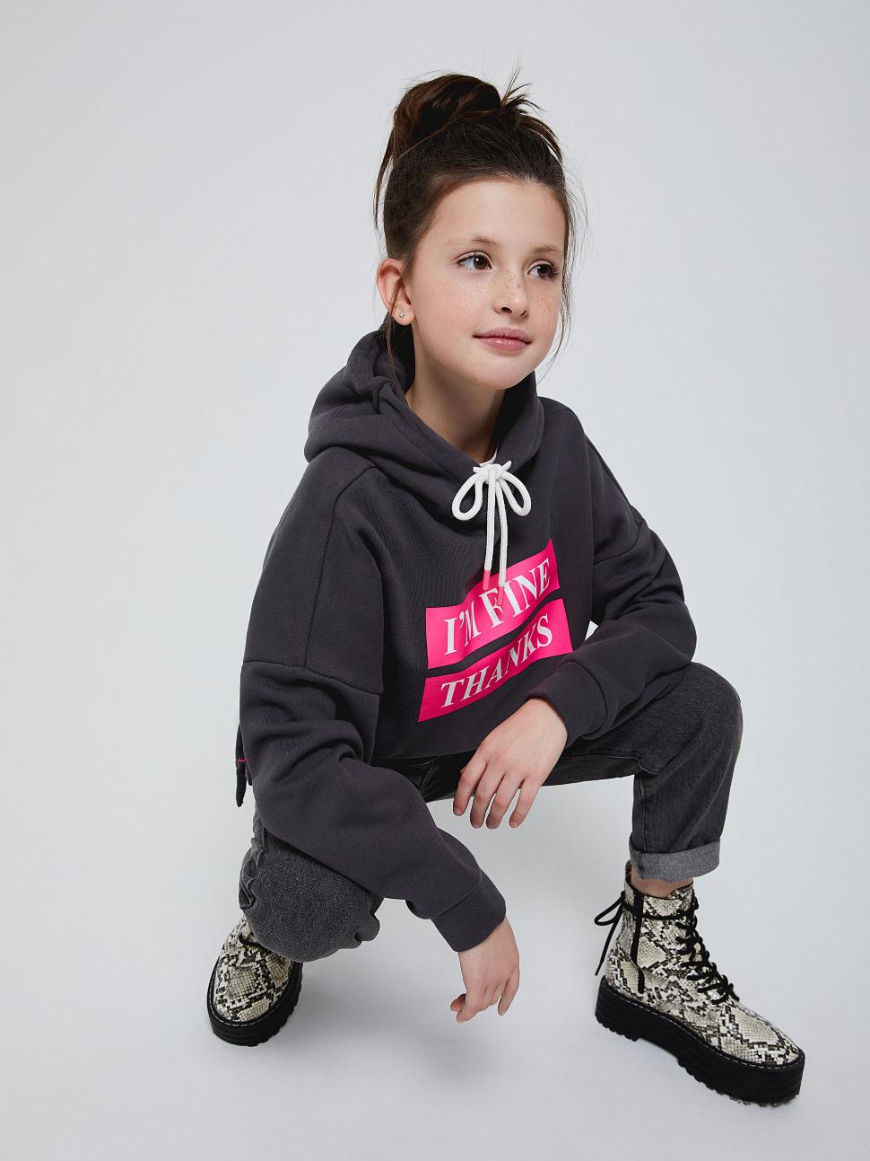 Худи оверсайз для девочек цвет: темно-серый, артикул: 18010504240 - купить в интернет-магазине sela