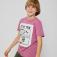 Футболка с принтом для мальчиков, цвет темно-розовый