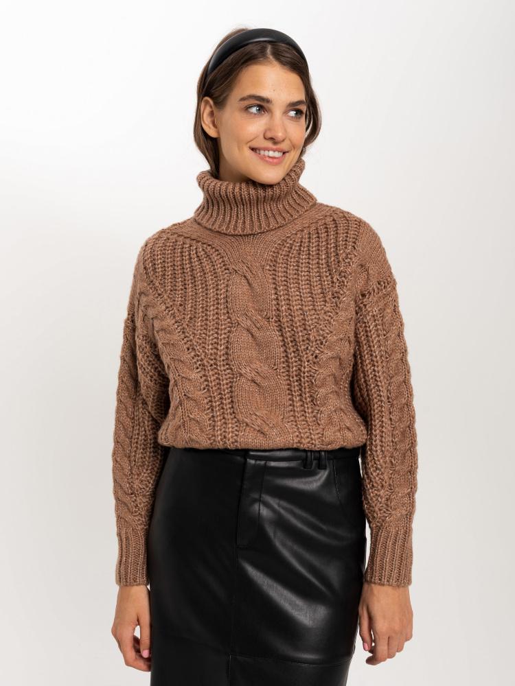 Свитер женский цвет: темно-бежевый/песочный, артикул: 08110106840 - купить в интернет-магазине SELA
