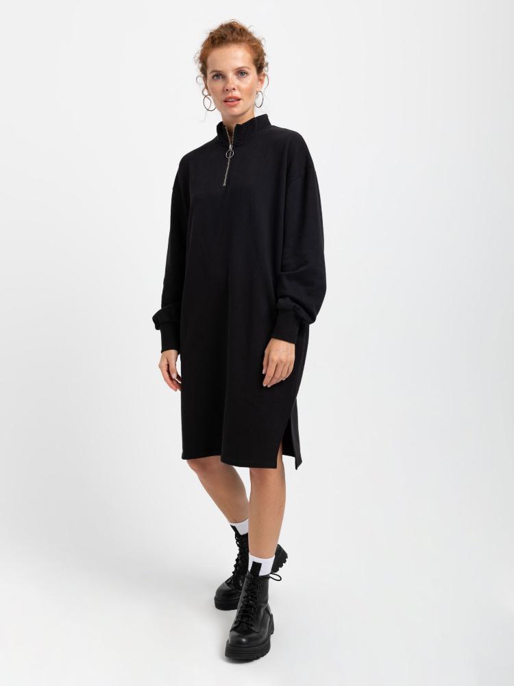 Платье-свитшот цвет: черный, артикул: 0808010749 - купить в интернет-магазине SELA