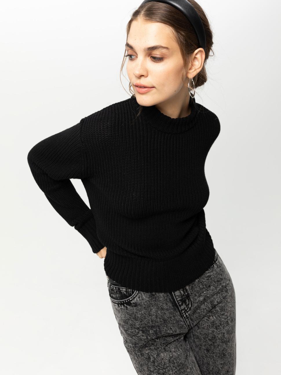 Джемпер женский цвет: черный, артикул: 0809010606 - купить в интернет-магазине sela