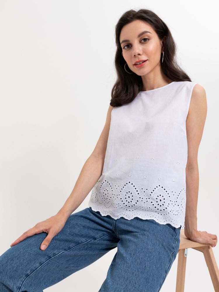 Блузка с вышивкой ришелье цвет: ваниль, артикул: 0805010503 - купить в интернет-магазине SELA